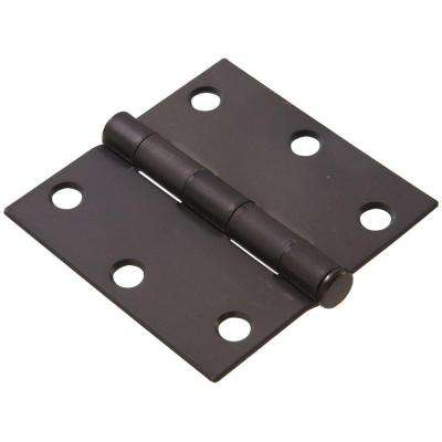 3 in. Oil-Rubbed Bronze Residential Door Hinge with Square Corner Removable Pin Full Mortise (9-Pack)