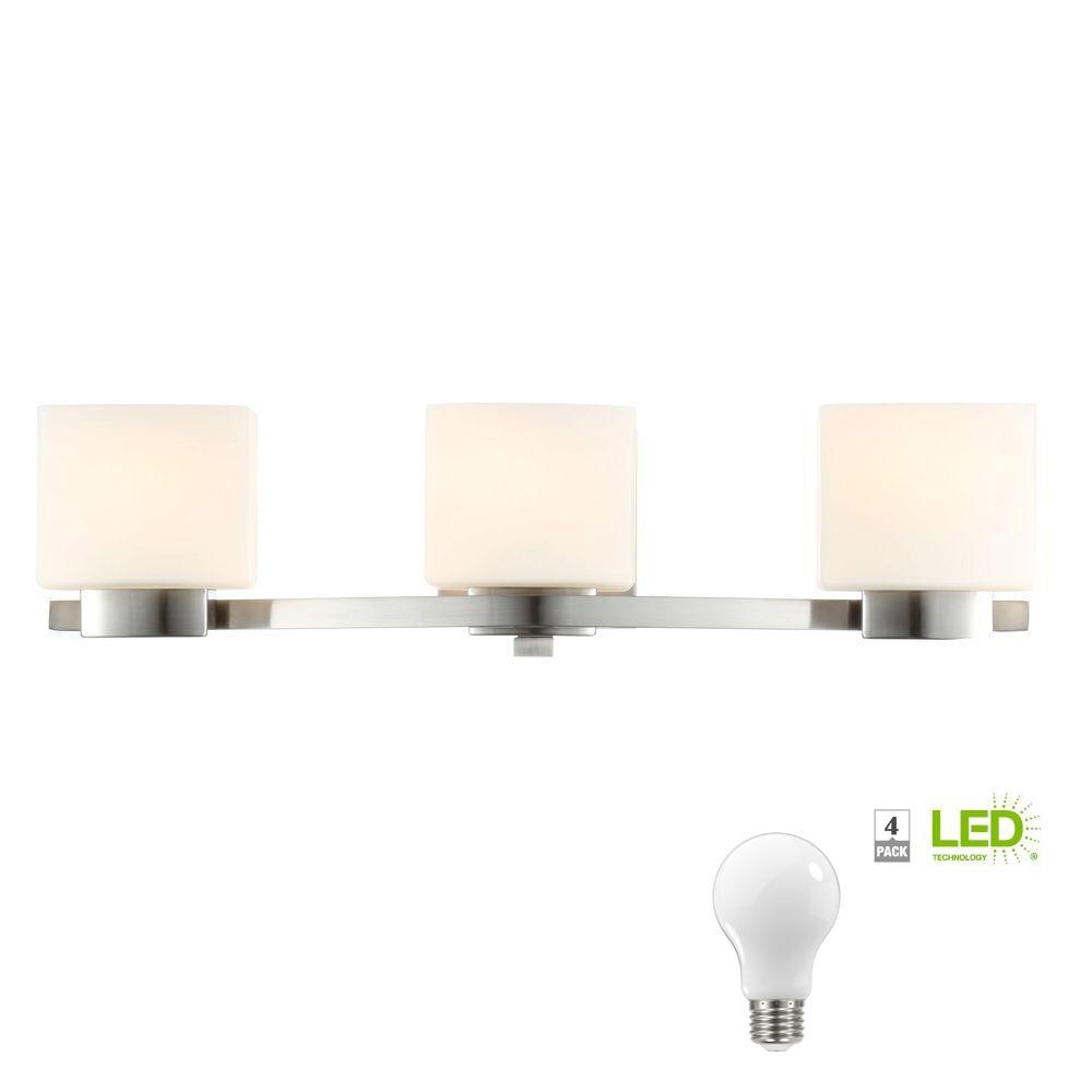 Hampton Bay 3-Light Brushed Nickel Vanity Light with Etched White Glass Shades, Dimmable LED Soft White Bulbs Included