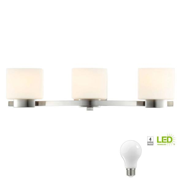 3-Light Brushed Nickel Vanity Light with Etched White Glass Shades, Dimmable LED Soft White Bulbs Included