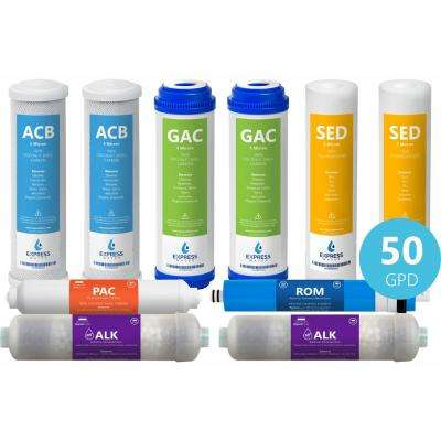 1 Year Alkaline Reverse Osmosis System Replacement Filter Set - 10 Filters w/ 50 GPD RO Membrane - 10 in. Filters