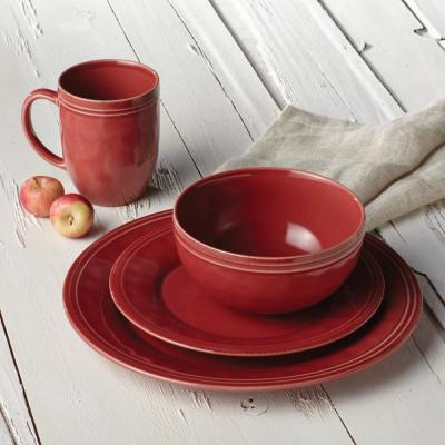 Cucina 16-Piece Casual Cranberry Red Stoneware Dinnerware Set (Service for 4)