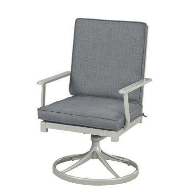 South Beach Grey Swivel Extruded Aluminum Outdoor Dining Chair with Charcoal Gray Cushion