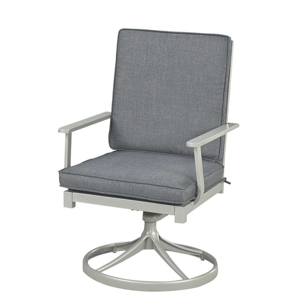 Terrific Homestyles South Beach Grey Swivel Extruded Aluminum Outdoor Dining Chair With Charcoal Gray Cushion Squirreltailoven Fun Painted Chair Ideas Images Squirreltailovenorg
