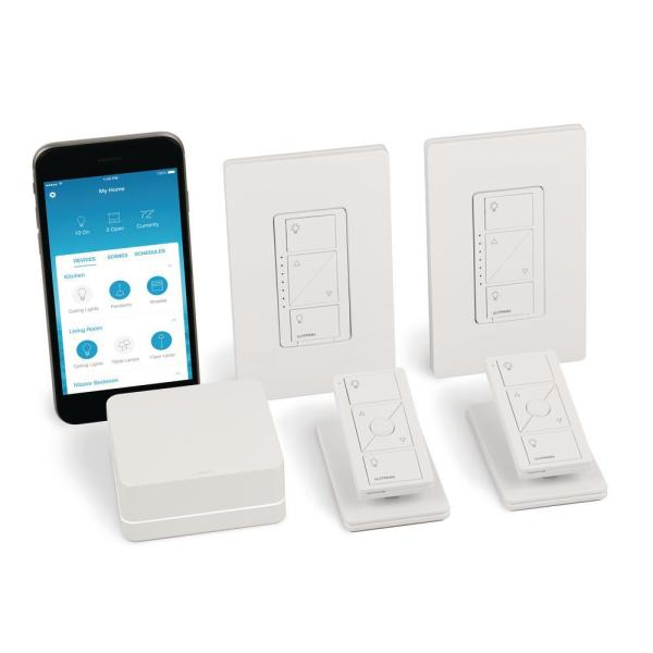 Caseta Wireless Smart Lighting Dimmer Switch (2 count) Starter Kit with Pedestals for Pico Remotes