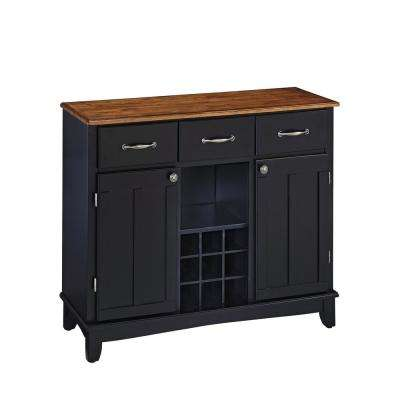Black and Cottage Oak Buffet with Wine Storage