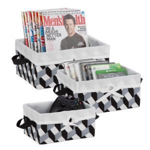 10 W x 5 H + 11.5 W x 5.5 in. H + 13 in. W x 6 in. H Black, Gray, White Nestable PP Weave Baskets with Liners (Set of 3)