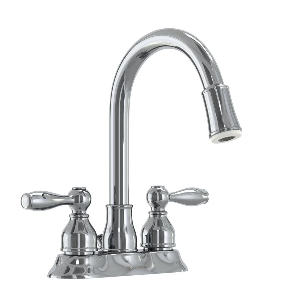 Glacier Bay Mandouri 4 in. Centerset 2-Handle LED High-Arc Bathroom Faucet in Chrome