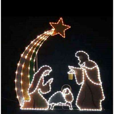 Toasty Tinsel 72 in. Nativity Frame with LED Lights
