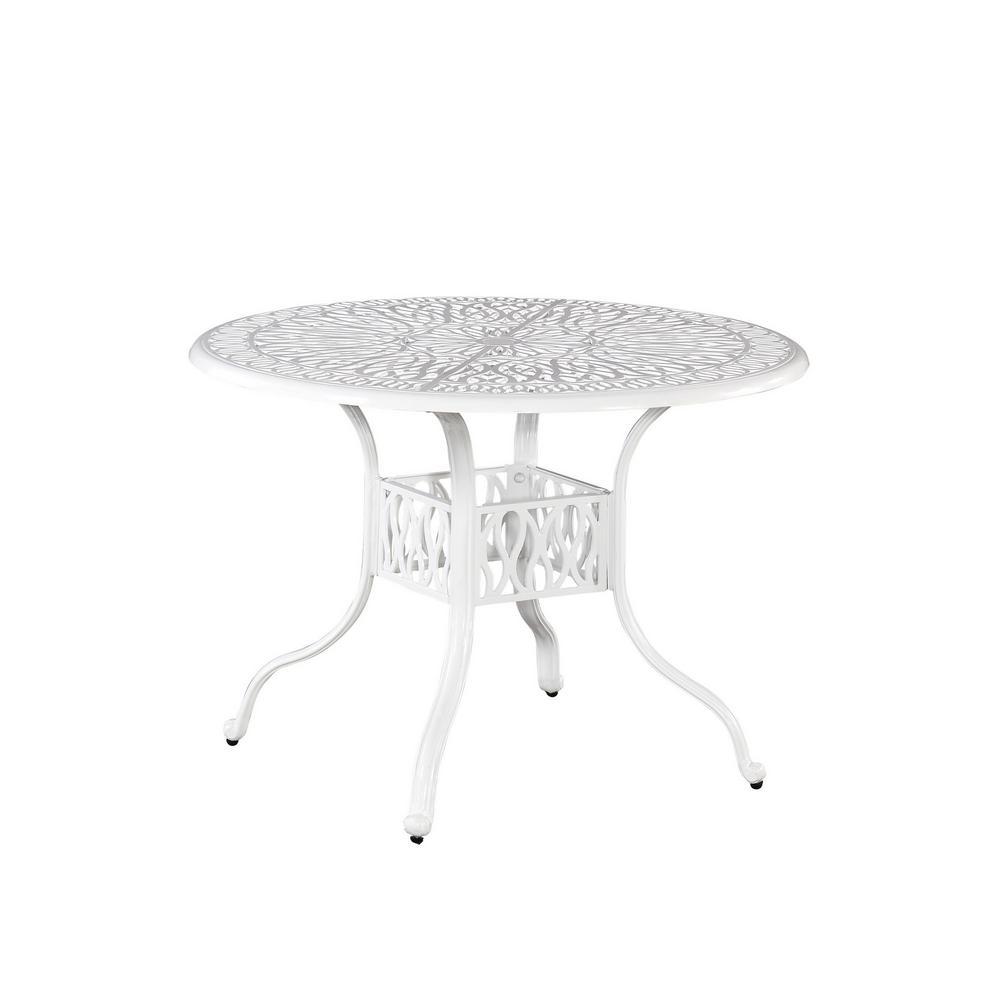 Capri 42 in. White Round Cast Aluminum Outdoor Dining Table