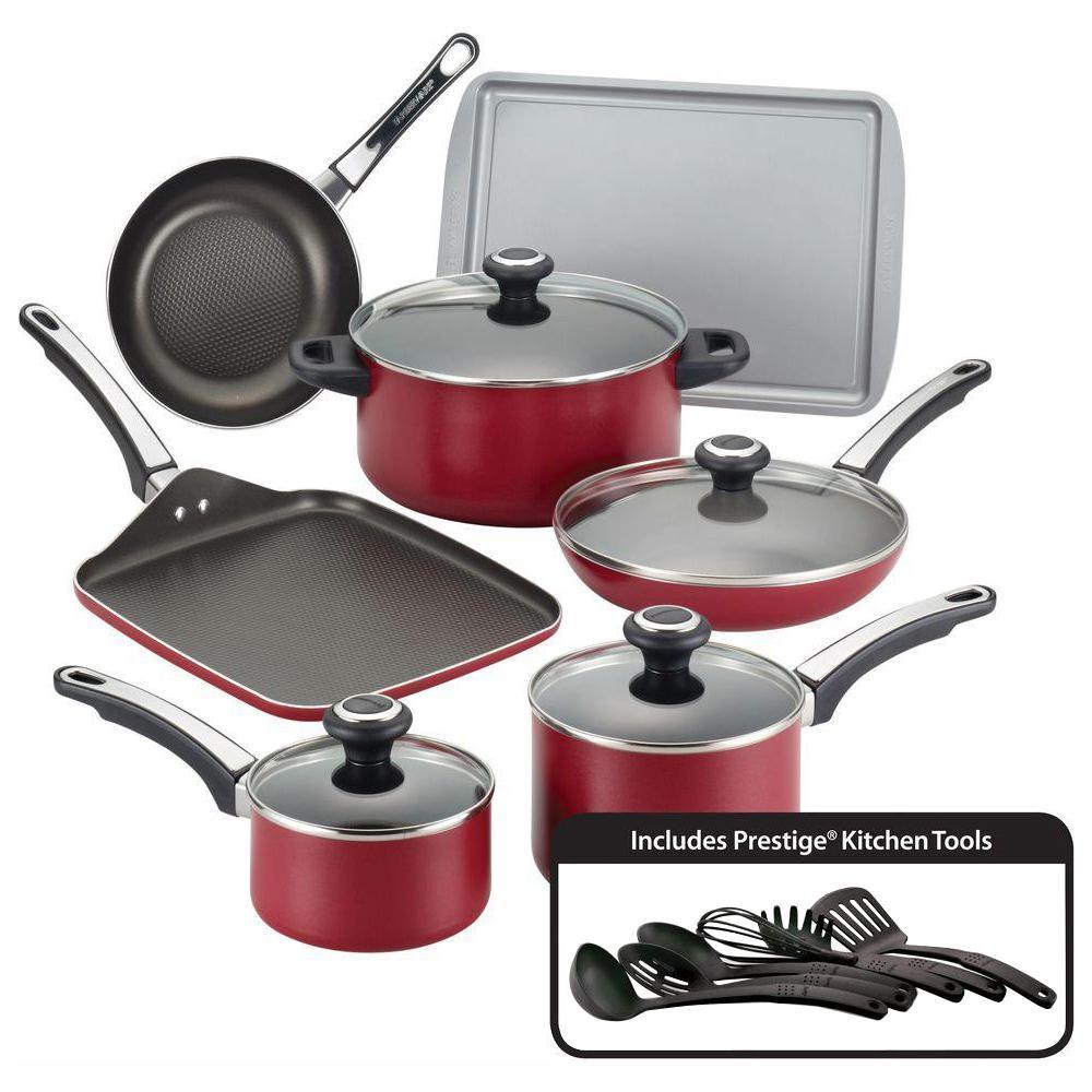 High Performance 17-Piece Aluminum Nonstick Cookware Set in Red