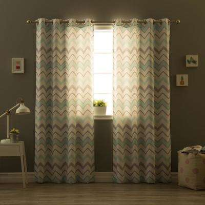 84 in. L Polyester Nordic Wave Curtains in Mint and Grey (2-Pack)