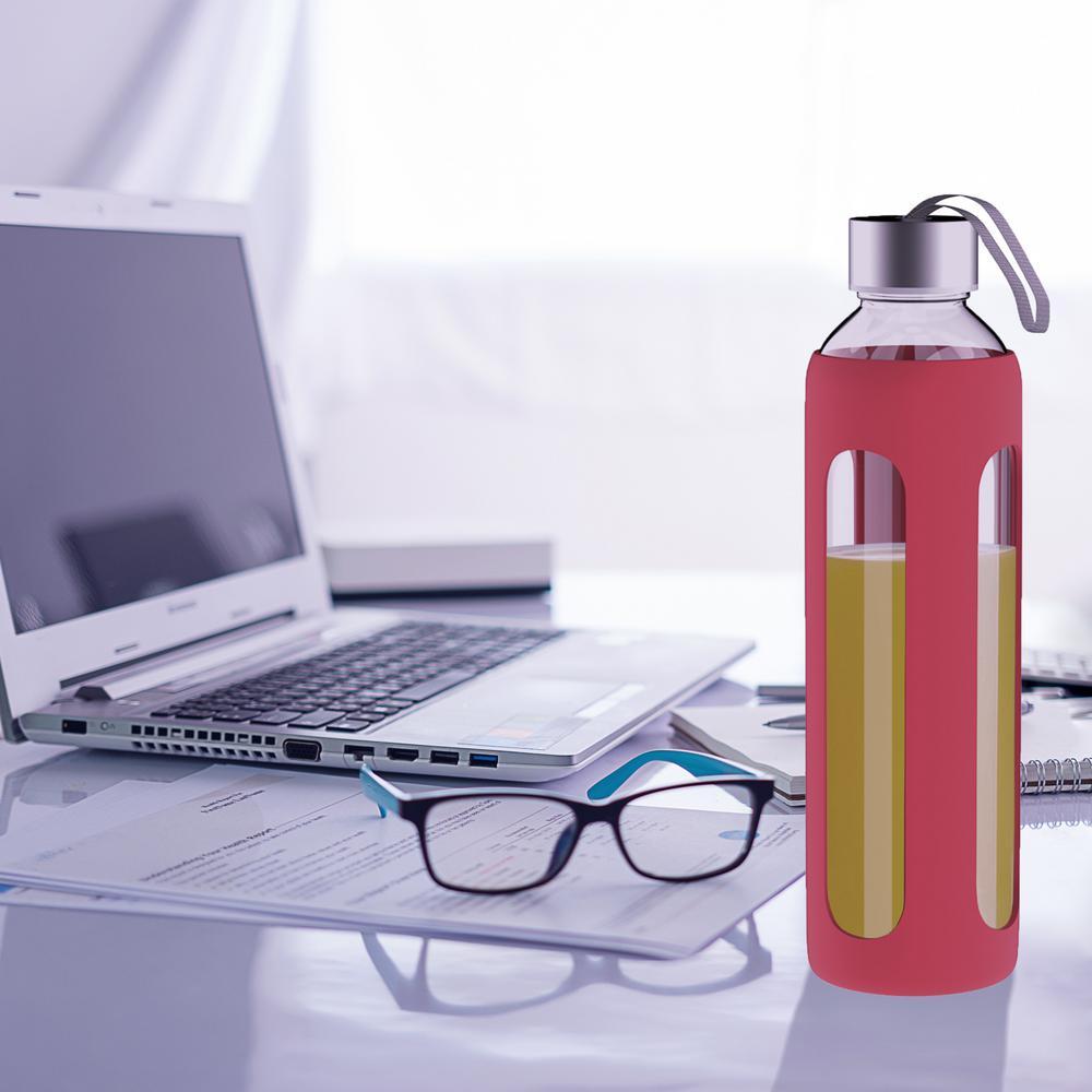 20 oz. Red BPA Free Glass Water Bottle