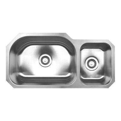 Noah's Collection Undermount Brushed Stainless Steel 32.75 in 0-Hole Double Bowl Kitchen Sink