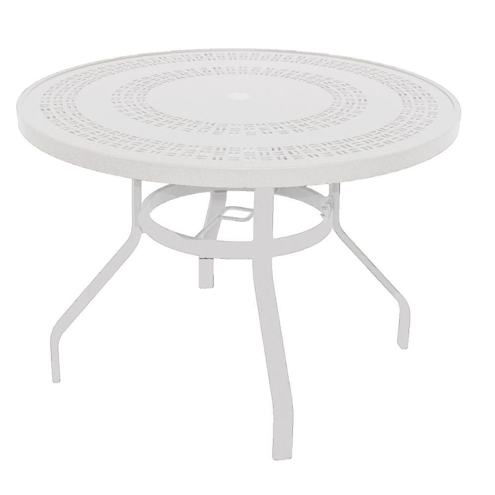 Model B42puj W Marco Island 42 In White Round Commercial Aluminum Outdoor Patio Dining Table