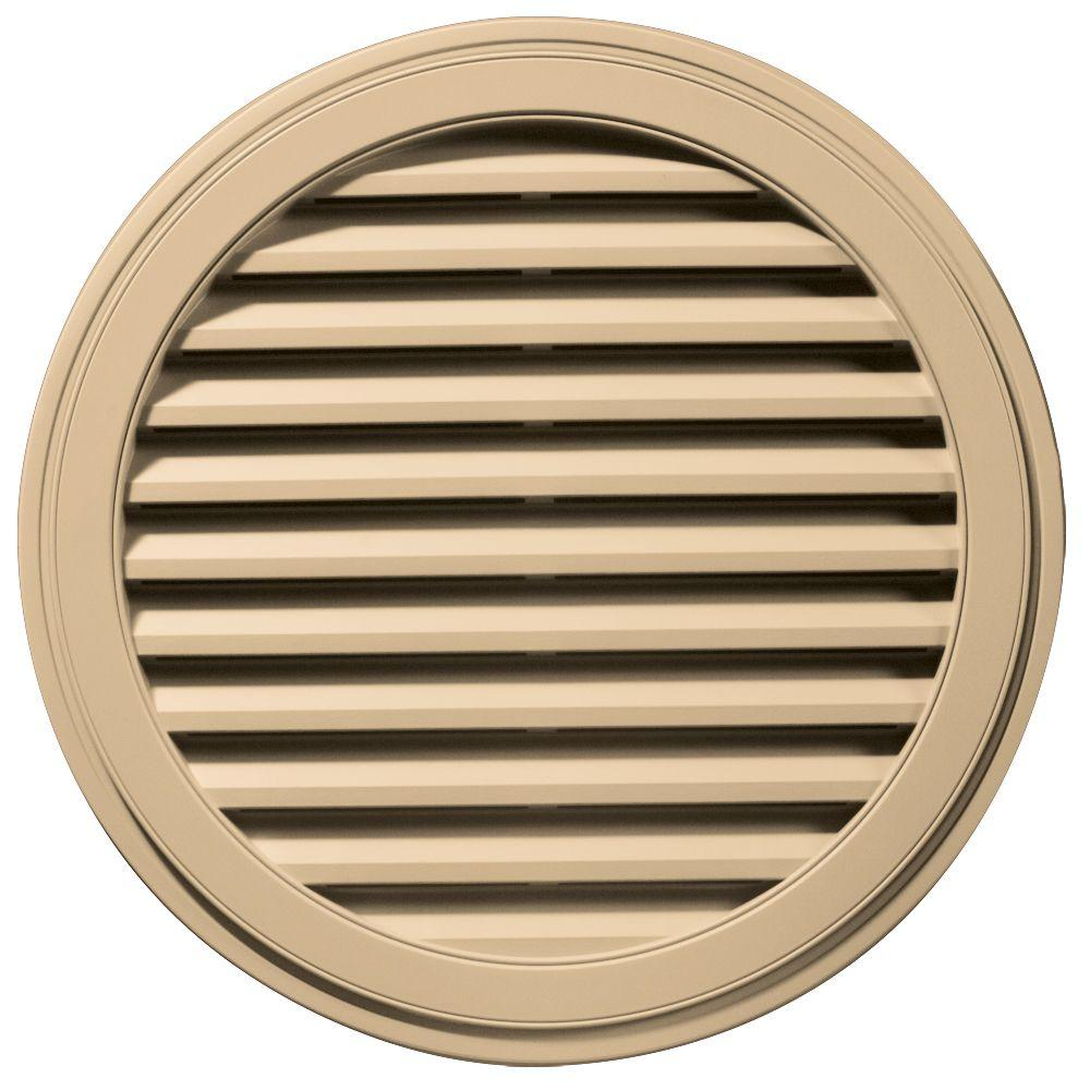 Builders Edge 36 in. Round Gable Vent in Sandstone Maple