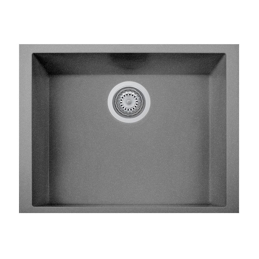 Latoscana one undermount granite composite 17 in single bowl kitchen sink in titanium