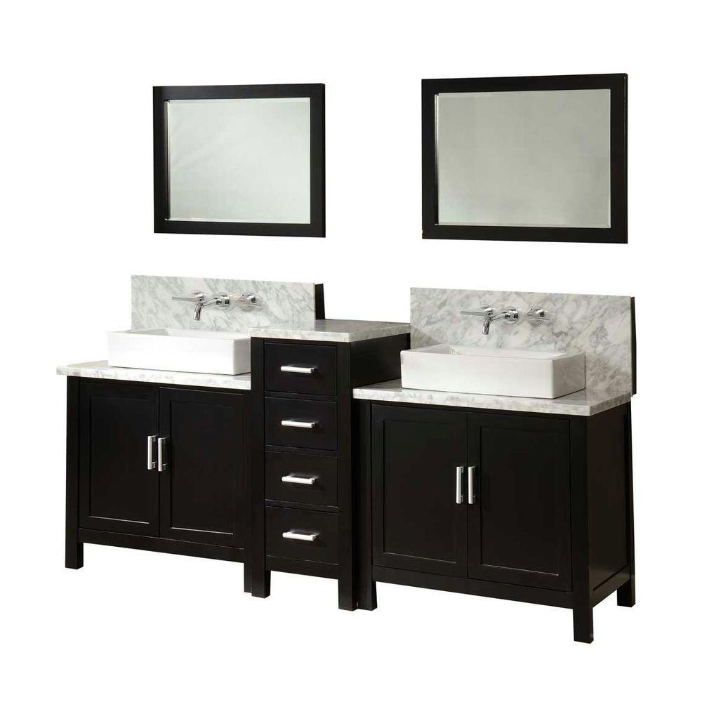Direct Vanity Sink Premium Double Vanity Ebony Marble Vanity Top White Mirrors