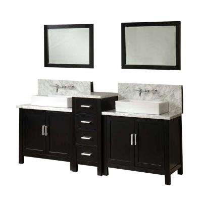 Horizon Premium 84 in. Double Vanity in Ebony with Marble Vanity Top in Carrara White and Mirrors