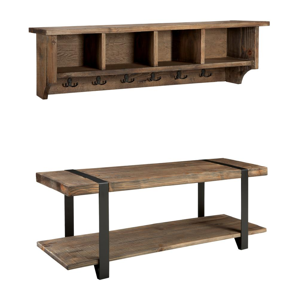 Modesto Rustic Natural Coat Hook With Storage And Bench