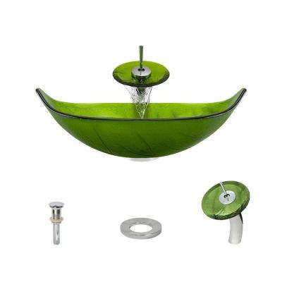 Glass Vessel Sink in Green Leaf with Waterfall Faucet and Pop-Up Drain in Chrome
