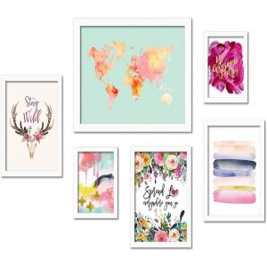 Colorful Modern Watercolor 6-Piece White Framed Art Set by Amy Brinkman