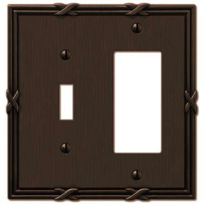Ribbon and Reed 1 Toggle and 1 Decora Wall Plate - Aged Bronze