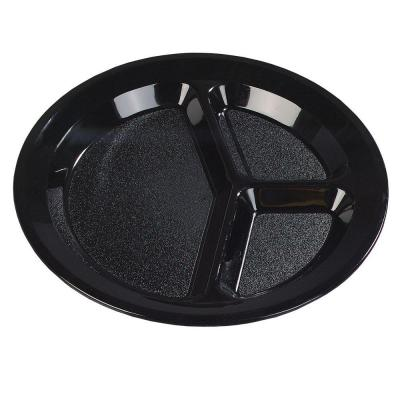 11 in. Diameter Polycarbonate Commercial 3 Compartment Dinner Plate in Black (Case of 48)