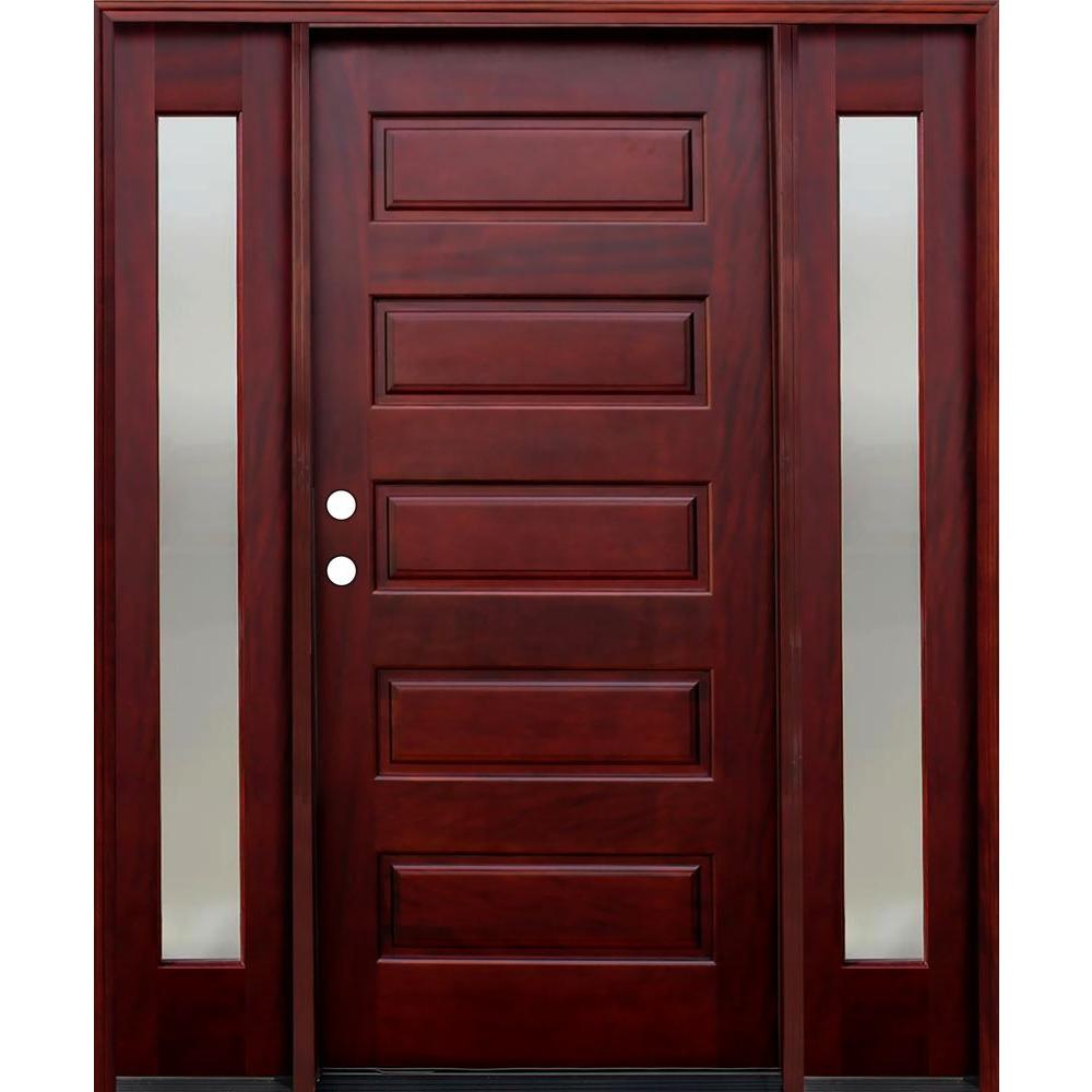 Pacific Entries 70 in. x 80 in. 5-Panel Stained Mahogany Wood Prehung Front Door w/ 6 in. Wall Series and 12 in. Mistlite Sidelites