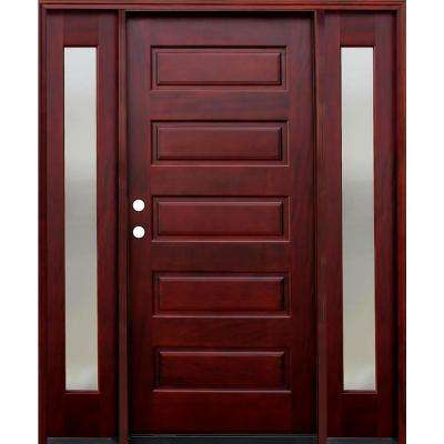 70 in. x 80 in. 5-Panel Stained Mahogany Wood Prehung Front Door w/ 6 in. Wall Series and 14 in. Mistlite Sidelites