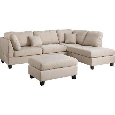 Madrid 3-Piece Reversible Sectional Sofa in Sand with Ottoman