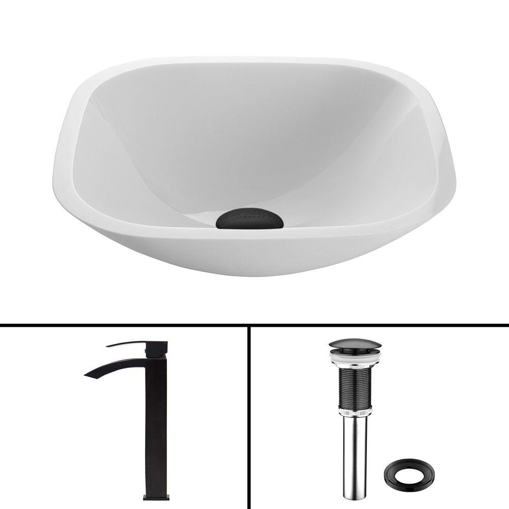Vigo glass vessel sink in square shaped white phoenix for Kitchen set vessels