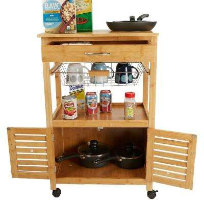 3-Tier Brown Bamboo Kitchen Trolley