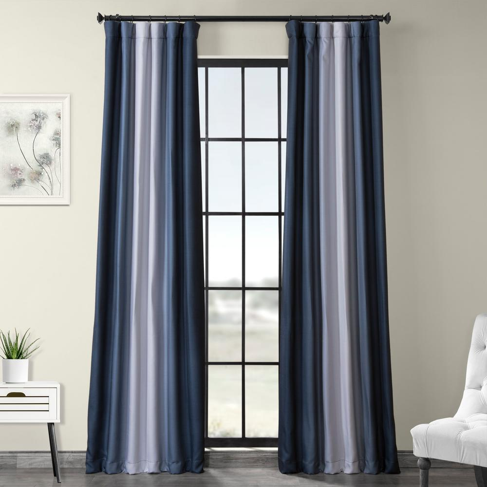 Exclusive Fabrics & Furnishings Parallel Blue Printed Linen Textured Blackout Curtain - 50 in. W x 84 in. L (1-Panel)