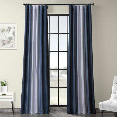 Parallel Blue Printed Linen Textured Blackout Curtain - 50 in. W x 96 in. L (1-Panel)