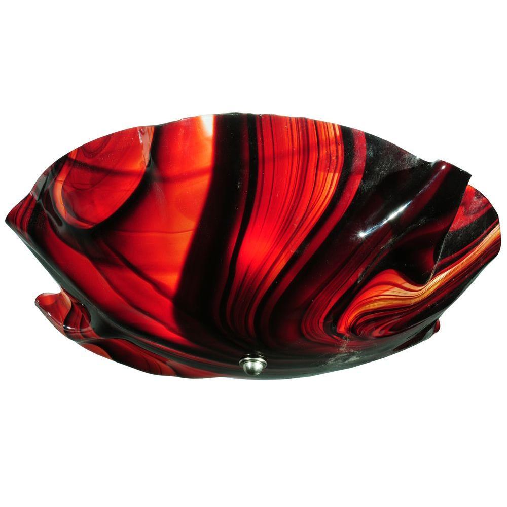 Illumine 3 Light Swirl Flushmount Organic Art Glass