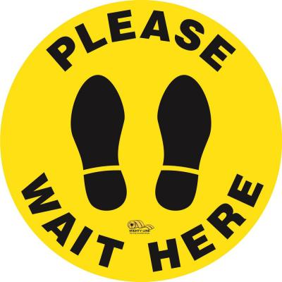 12 in. Yellow Please Wait Here Social Distancing Floor Sign
