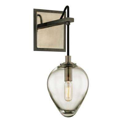 Brixton 1-Light Gunmetal 15 in. H Wall Sconce with Clear Glass
