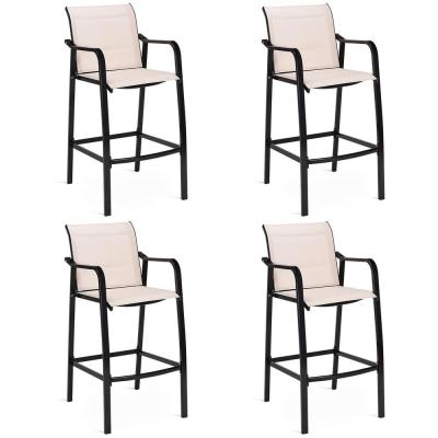 Steel Frame Counter Height Outdoor Patio Stool Dining Bar Chair (4-Pack)