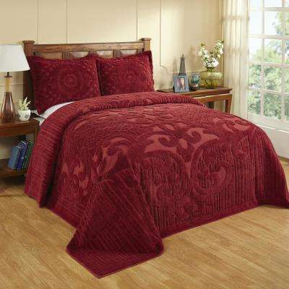 Ashton 1-Piece Burgundy Full Bedspread