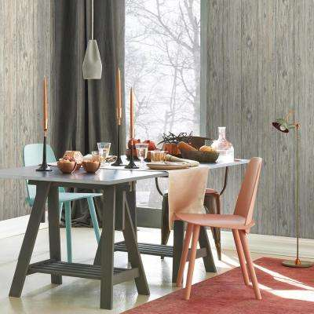 Grey Mushroom Wood Peel And Stick Wallpaper
