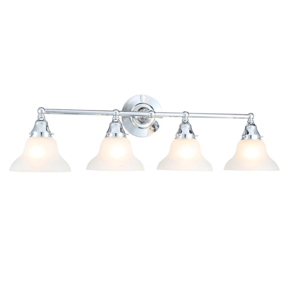 World Imports Asten Collection 4-Light Chrome Vanity Light with Opal Etched Glass Shades
