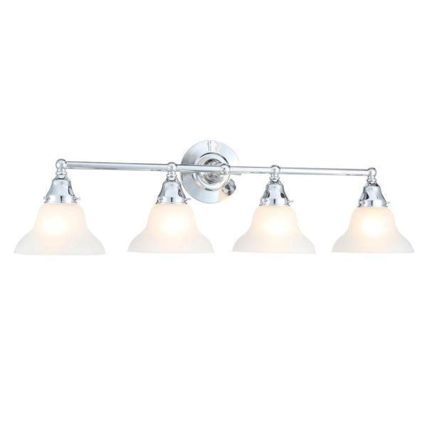 Asten Collection 4-Light Chrome Vanity Light with Opal Etched Glass Shades
