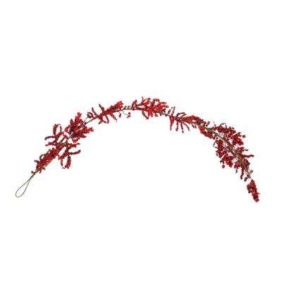 6 ft. Unlit Decorative Artificial Burgundy Red Berry Christmas Garland