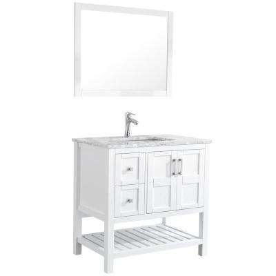 Sophia 36 in. Bathroom Vanity in White with Marble Vanity Top in Cararra White with White Ceramic Basin and Mirror