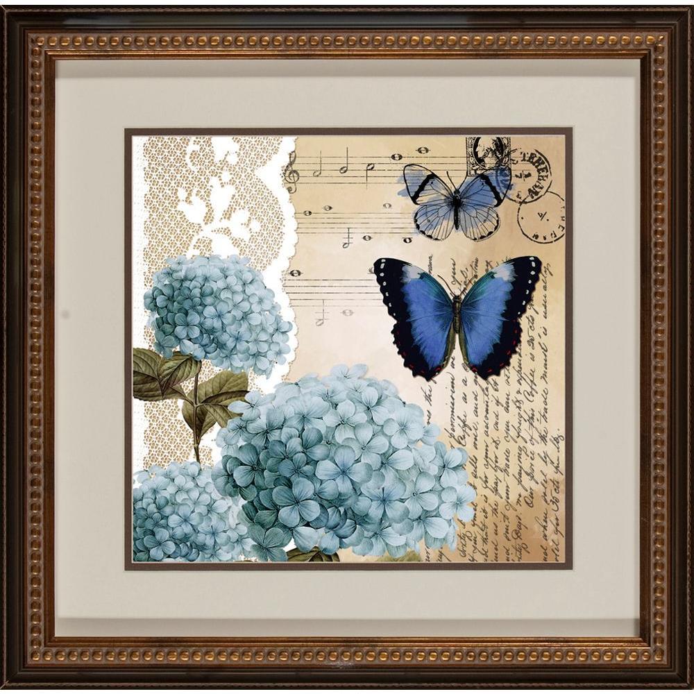 """null 18.5 in. x 18.5 in. """"Postacard Butterfly B"""" Framed Wall Art"""