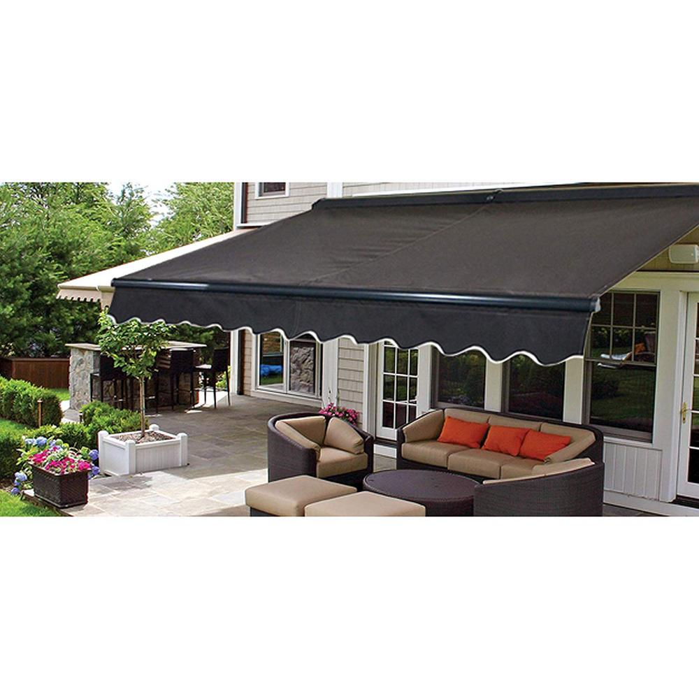 Aleko 12 Ft Half Cassette Retractable Awning 120 In Projection In Black Awc12x10bk81 Hd The Home Depot