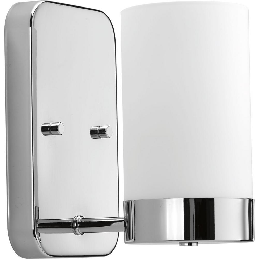 Elevate Collection 1 Light Polished Chrome Bath Sconce With White Glass Shade