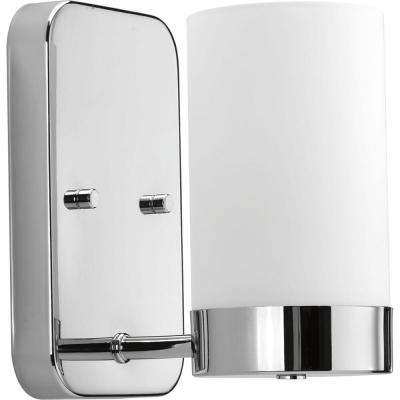 Elevate Collection 1-Light Polished Chrome Bath Sconce with White Glass Shade