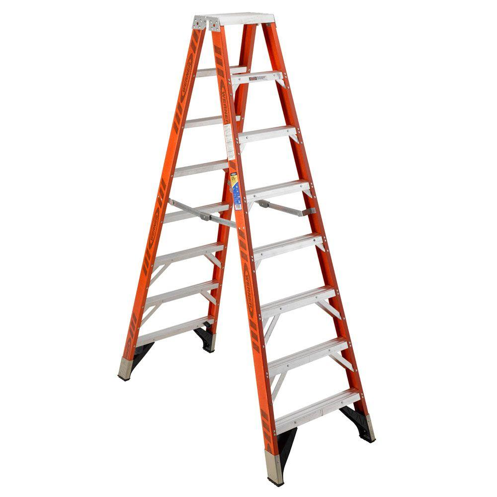 Werner 10 Ft Fiberglass Twin Step Ladder With 375 Lb Load Capacity Type Iaa Duty Rating T7410 The Home Depot