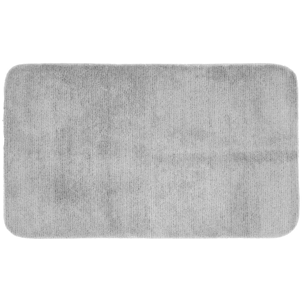 Glamor Platinum Gray 30 in. x 50 in. Washable Bathroom Accent